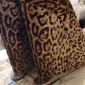 L.A.M.B. wedge heel leopard print